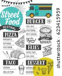 street food festival menu.... | Shutterstock .eps vector #623415959