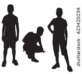 vector silhouettes of a... | Shutterstock .eps vector #623420234