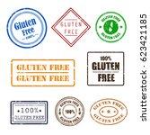 gluten free grunge rubber... | Shutterstock .eps vector #623421185
