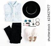 beauty blog concept. woman...   Shutterstock . vector #623427977