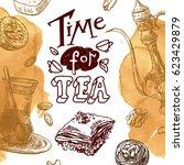 east tea illustration. oriental ... | Shutterstock .eps vector #623429879