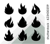 collection of vector flame icon ... | Shutterstock .eps vector #623430359