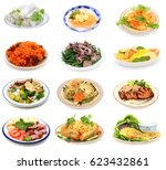 assorted vietnamese food plate... | Shutterstock . vector #623432861