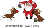 santa gives christmas gifts to... | Shutterstock .eps vector #62344441