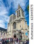 Small photo of Lisieux, France - September 3, 2016: The Lisieux Cathedral was the seat of the Bishop until the diocese of Lisieux was abolished. It was built between 1170 and the middle of the 13th century.