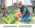 young pretty woman watering... | Shutterstock . vector #623450189