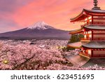 fujiyoshida  japan at chureito... | Shutterstock . vector #623451695