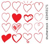 heart doodles set  hand drawn ... | Shutterstock .eps vector #623453171