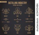 set of vintage moonshine... | Shutterstock .eps vector #623455484