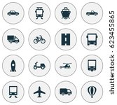 transportation icons set.... | Shutterstock .eps vector #623455865