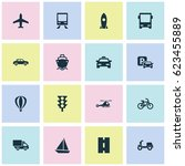 transport icons set. collection ... | Shutterstock .eps vector #623455889