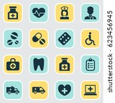 medicine icons set. collection... | Shutterstock .eps vector #623456945
