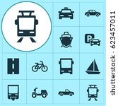 transport icons set. collection ... | Shutterstock .eps vector #623457011