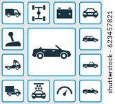 automobile icons set.... | Shutterstock .eps vector #623457821