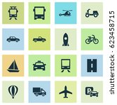 transportation icons set.... | Shutterstock .eps vector #623458715