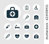 antibiotic icons set....   Shutterstock .eps vector #623458931