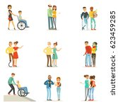 help and care for disabled... | Shutterstock .eps vector #623459285