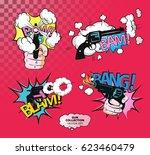 vector creative stickers kit in ... | Shutterstock .eps vector #623460479