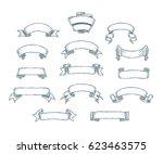 hand drawn dotwork vintage... | Shutterstock .eps vector #623463575