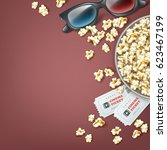 vector bucket of popcorn with... | Shutterstock .eps vector #623467199