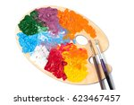 colored paint on the art palette | Shutterstock . vector #623467457
