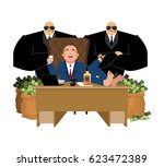 rich man sits at table and... | Shutterstock .eps vector #623472389