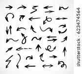 hand drawn arrows  vector set | Shutterstock .eps vector #623474564