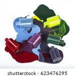 colored nail polish spill on... | Shutterstock . vector #623476295