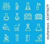 lab icons set. set of 16 lab... | Shutterstock .eps vector #623476679