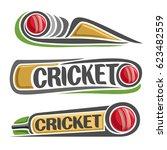 vector abstract set for cricket ... | Shutterstock .eps vector #623482559