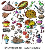 big set  food icons various... | Shutterstock .eps vector #623485289