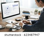 upload is a file transfer to...   Shutterstock . vector #623487947