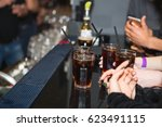rum with cola  whiskey and cola ... | Shutterstock . vector #623491115