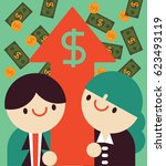 business team hold an arrow... | Shutterstock .eps vector #623493119