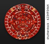 Painted Stone Aztec Calendar...