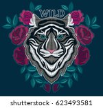 tiger embroidery design.... | Shutterstock .eps vector #623493581