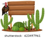 wooden sign and vulture in... | Shutterstock .eps vector #623497961