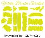 yellow brush strokes on white... | Shutterstock .eps vector #623498159