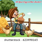 idiom poster for all your eggs... | Shutterstock .eps vector #623498165