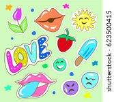hand drawn childish fashion... | Shutterstock .eps vector #623500415