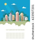 Blank for text. Smart city with contemporary buildings Flat graphic landscape with skyscrapers. Vector icon for design