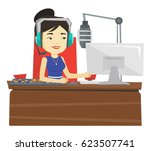 asian radio dj in headset... | Shutterstock .eps vector #623507741