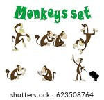 Set Of Cute Funny Monkeys In...