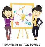 young asian student explaining... | Shutterstock .eps vector #623509511