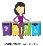 asian woman throwing away... | Shutterstock .eps vector #623510117