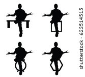 man silhouette sitting set in... | Shutterstock .eps vector #623514515