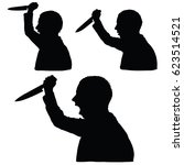 man silhouette with knife in... | Shutterstock .eps vector #623514521