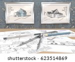 blue theme house project... | Shutterstock . vector #623514869