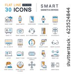 set line icons with open path... | Shutterstock . vector #623524844