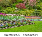 field of colorful tulips in the ... | Shutterstock . vector #623532584